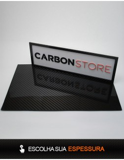 Placa de Fibra de Carbono 390 x 250 mm | Brilhante