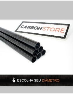 Tubo de Fibra de Carbono 1000 mm | Brilhante